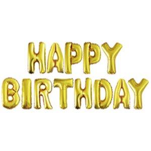 Набор шаров-букв Надпись Happy Birthday золото