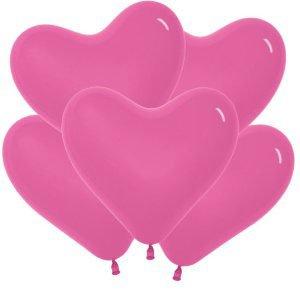 Шар без рисунка Сердца темно-розовые