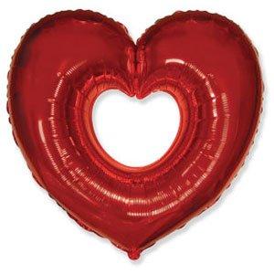 Шар сердце вырубка красный