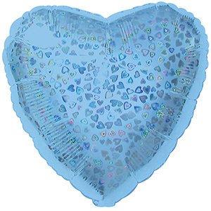 Шар сердце голубой голография