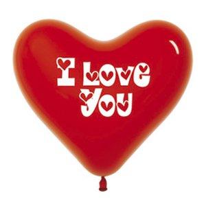 Шар с рисунком Сердце красное I love you