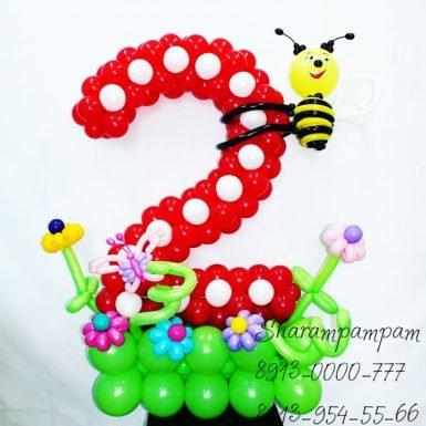 Цифра два с пчелкой
