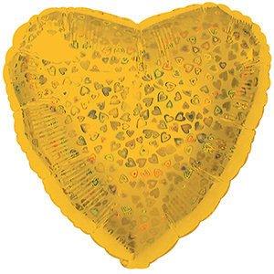 Шар сердце золото голография