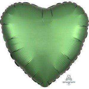 шар сердце сатин зеленый satin luxe emerald heart