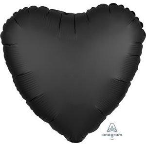 шар сердце сатин черный satin luxe onyx