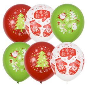 Шар с рисунком С Новым годом (снеговики и елки)