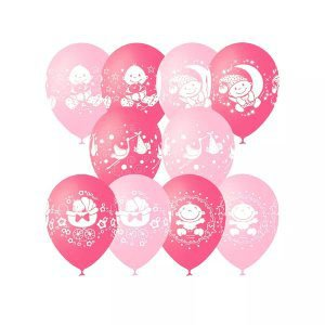 Шар с рисунком С днем рождения малышка розовый