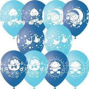 Шар с рисунком С днем рождения малыш голубой