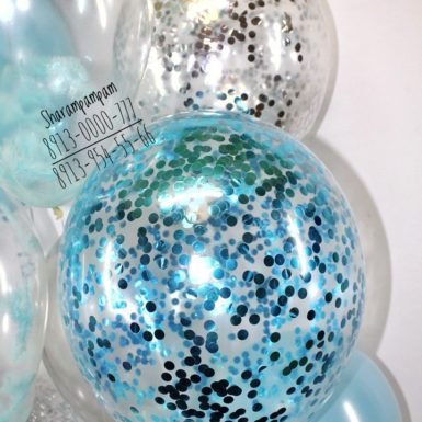 Шар с конфетти голубой круг 1 см