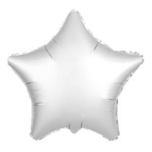 Шар звезда белый жемчужный сатин
