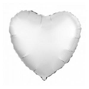 Шар сердце Белый жемчужный пастель
