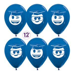 Шар с рисунком Выпускник, Emoji, Синий, металлик