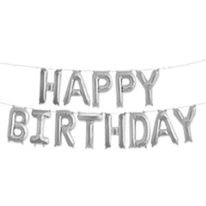 Набор шаров-букв Надпись Happy Birthday серебро