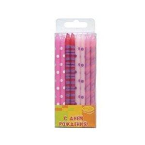 Свечи Ассорти розовое 16шт 12см