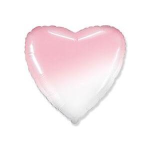 Шар сердце Градиент розовый