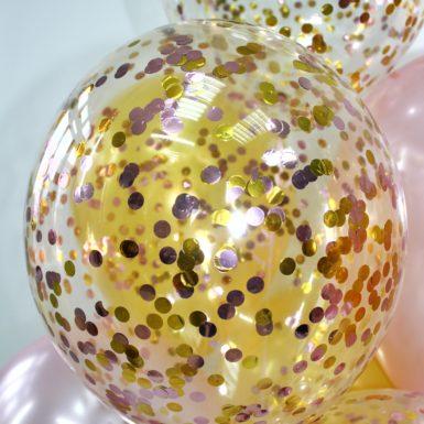 шар конфетти микс круга золото и розовое золото