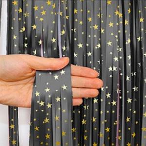 Занавес Дождик Черный с золотыми звездами 200 100 см