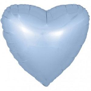 Шар сердце Голубой Сатин