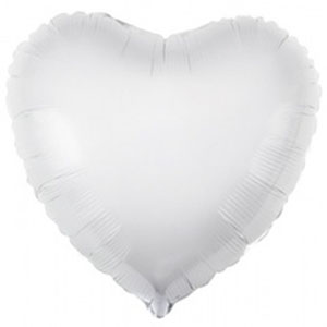 Шар сердце большое Белый