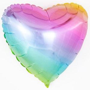Шар сердце большое Нежная радуга Градиент