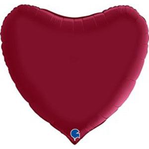 Шар сердце огромное Вишневый Сатин