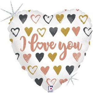 Шар сердце Я Люблю Тебя (граффити) Голография