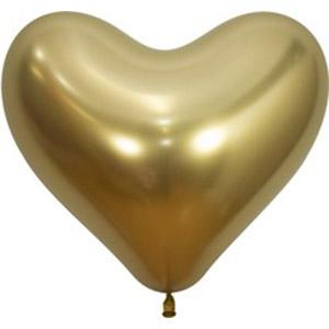 Шар сердце Золото хром