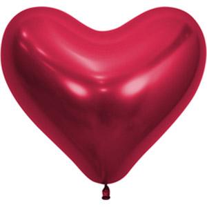 Шар сердце Красный хром